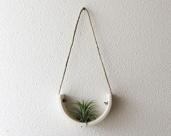 White Air Plant Container Ceramic Plant Hanger - Small