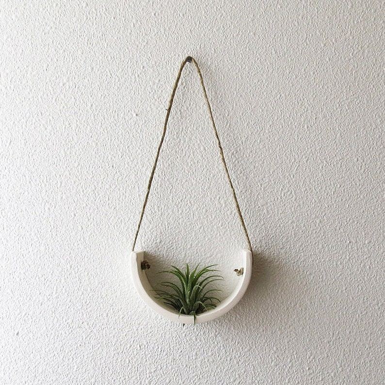 Small Air Plant Cradle Planter  Natural White Earthenware image 0