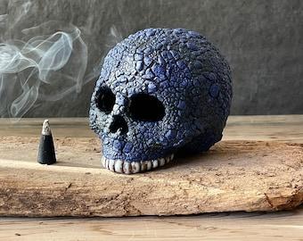 cobalt blue lichen glaze ceramic human skull decoration