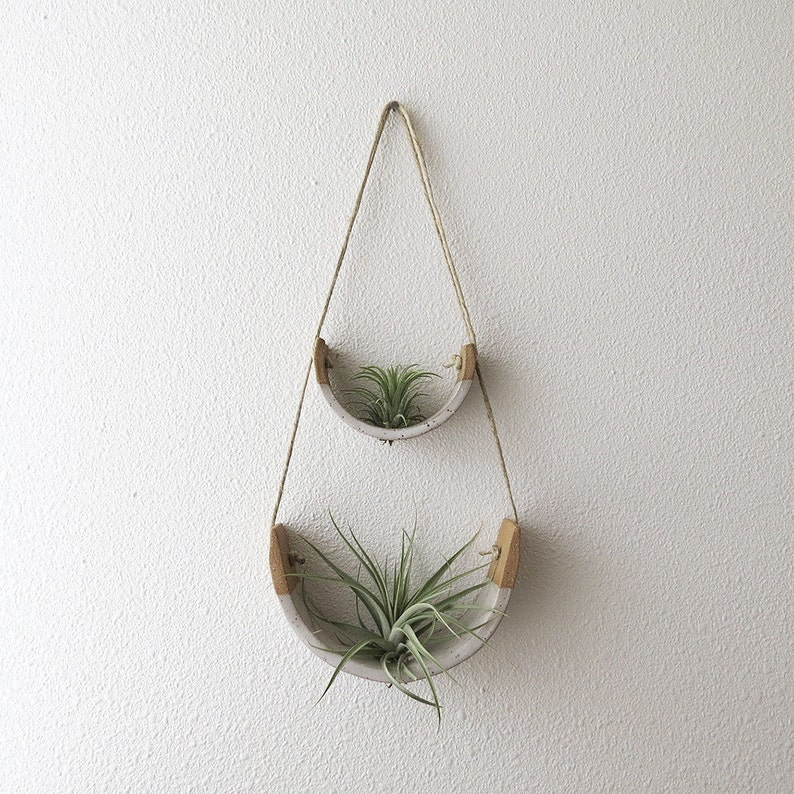 2 Tier Hanging Air Plant Holder  Speckle Stoneware Planter image 0
