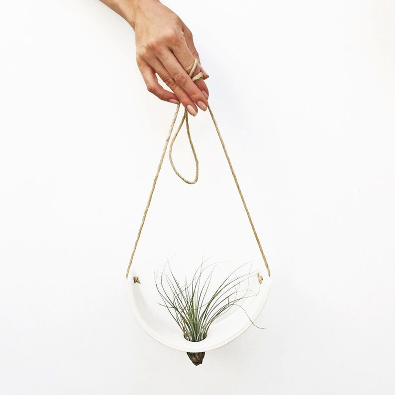 Hanging Planter  Air Plant Cradle  Natural White Earthenware image 0