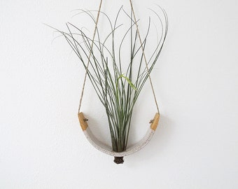 Large Ceramic Hanging Air Plant Planter Vase Speckle Buff Clay Body Dipped In Gloss White Glaze