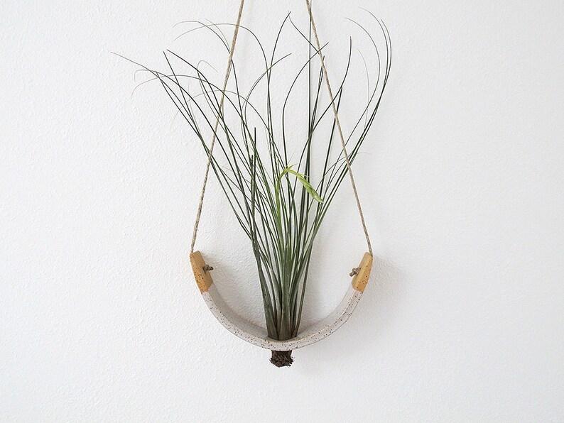 Hanging Air Plant Cradle tm Planter Vase  Speckled  Buff image 0
