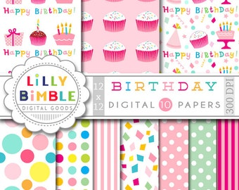 Birthday digital paper with cake, cupcakes, gifts, confetti, polka dots, Happy Birthday scrapbook Instant Download