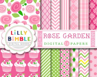 Roses Digital Paper with cupcakes, ROSE GARDEN, scrapbook, Instant download, Commercial Use, floral papers