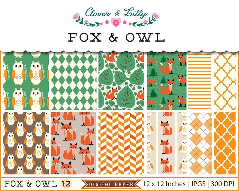 Fox Digital Papers woodland scrapbooking paper owls paper image 0
