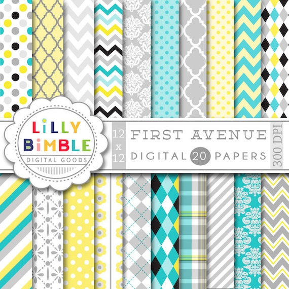 Digital Paper In Turquoise Gray Yellow And Black Scrapbook Paper