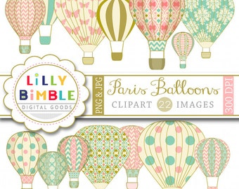Balloon clipart Paris Hot Air Balloons with damask, digital scrapbooking INSTANT DOWNLOAD