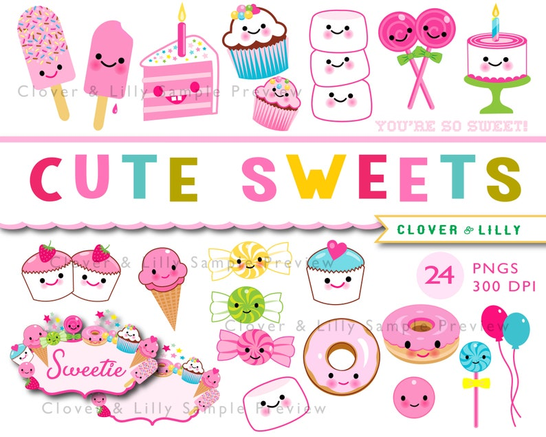 CUTE SWEETS kawaii clipart cupcakes candy birthday cake | Etsy