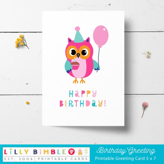 Owl Birthday Card Printable Instant Download Print Etsy