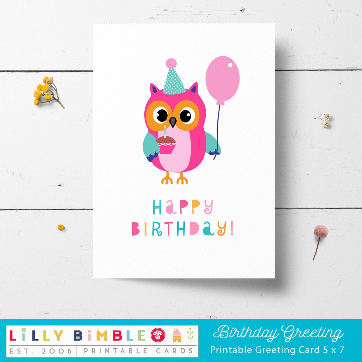 Owl Birthday Card Printable Instant Download Print