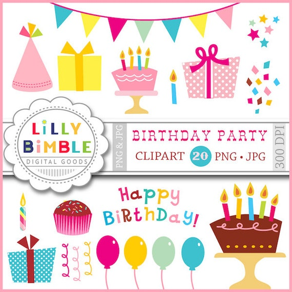 birthday party clipart with balloons gifts confetti etsy