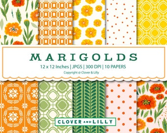 Marigolds Digital Paper, Floral Scrapbook papers, Spring Card Crafts, Printable, Commercial Use, Clover and Lilly