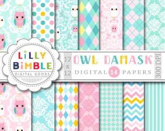 Owl Damask digital papers scrapbooking cards pastel baby paper pack DIGITAL DOWNLOAD