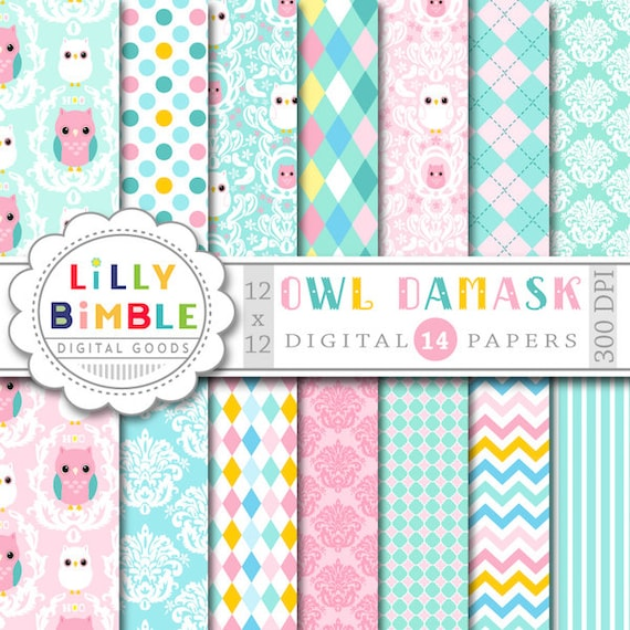 Owl Damask Digital Papers Scrapbooking Cards Pastel Baby Paper Etsy