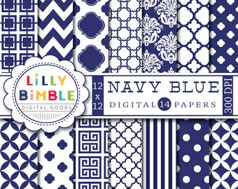 Navy Blue digital scrapbook papers for monogramming, crafts blue and white scrapbooking papers, printable download, damask, chevron