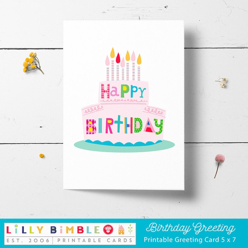 graphic regarding Printable Candles named Printable Birthday Card Cake and Candles, Do it yourself, Prompt Down load,