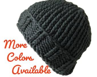 fcf864ebd68 Pure Merino Wool Knit Hat Slate Grey Men Women Gift Unisex AIDAN - Ready to  Ship