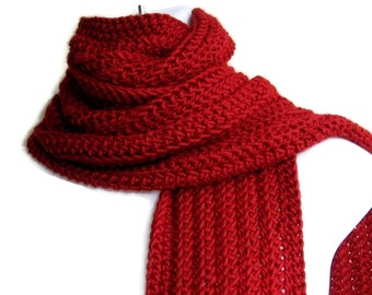 Solid Red Scarf GABLE Gift for Her Gift for Him