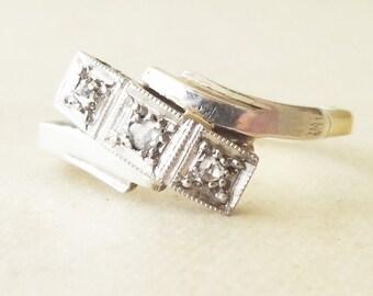 Antique Geometric Rose Cut Diamond Trilogy Ring, Art Deco Diamond, Platinum & 18k Gold Engagement Ring Approx Size 5.75