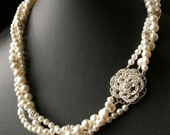 Vintage Wedding Jewelry, Pearl Bridal Necklace,Twisted Pearl Wedding Necklace, Vintage Bridal Jewelry, ROSE