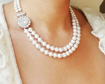 Pearl Bridal Necklace, Vintage Wedding Necklace, Art Deco Bridal Jewelry, Swarovski Crystal Pearl Necklace, Great Gatsby, Victoria