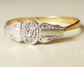 15% OFF SALE Art Deco Cameo Framed Twin Diamond Ring, Diamond 18k Gold and Platinum Engagement Ring Approx. Size US 8.25