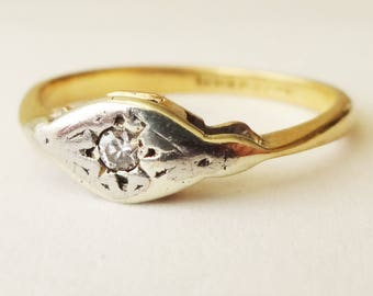 Art Deco Diamond Solitaire Ring, Antique Diamond 18k Gold and Platinum Engagement Ring Approx. Size US 3.75