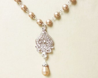 CHAMPAGNE Wedding Necklace, Pearl Wedding Jewelry, Champagne Bridal Necklace, Art Deco Bridal Jewelry, JACQUELINE