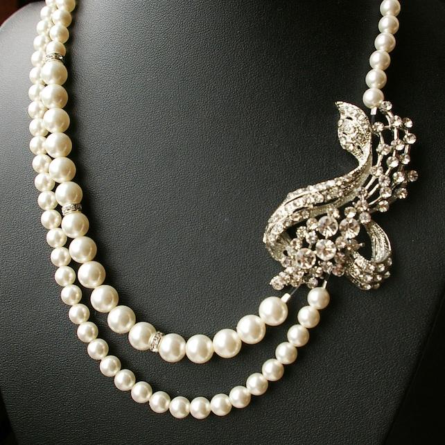 Wedding Necklace, Art Deco Bridal Jewelry, Silver Bridal Necklace, Vintage Wedding Jewelry, Great Gatsby, Statement Wedding Necklace, BETTE
