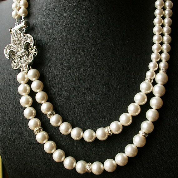 Fleur De Lis Bridal Necklace, Vintage Wedding Jewelry, Crystal Bridal Jewelry, Art Deco Wedding Necklace, Statement Necklace, FLEUR DE LIS