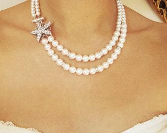 Starfish Bridal Necklace, Beach Wedding Necklace, Art Deco Bridal Jewelry, Silver Starfish Necklace, Destination Wedding Jewelry, SEA MAIDEN