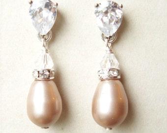 CHAMPAGNE Pearl Bridal Earrings, Modern Vintage STERLING SILVER Bridal Wedding Earrings, Champagne Pearls, Champagne Pearl Earrings