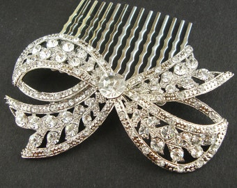 Crystal Bow Bridal Comb,  Wedding Hair Comb, Vintage Bridal Hair Accessories, Art Deco Hair Comb, Bow Comb, Silver Bow, LOLA