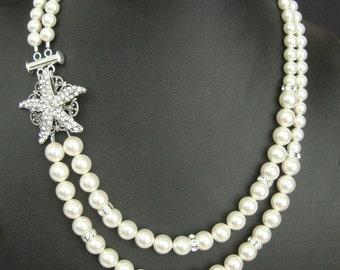 Starfish Bridal Necklace, Pearl Wedding Necklace, Vintage Wedding Jewelry, Crystal Starfish Necklace, Destination Beach Wedding, SEA MAIDEN