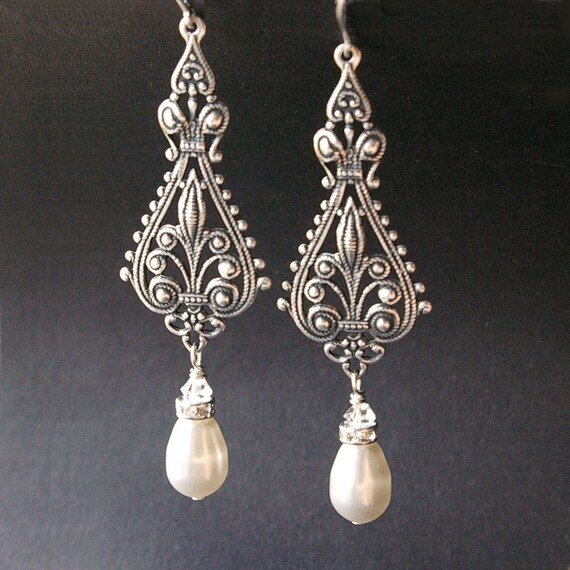 35f9cb693b82 Vintage Bridal Earrings Silver Filigree Earrings Antiqued