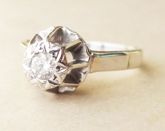 15% OFF SALE Vintage 9k White Gold Birdcage Setting Diamond Engagement Ring, Approx. Size US 5.5/ 5.75