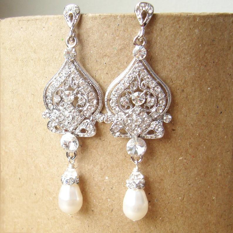 Chandelier Bridal Earrings Vintage Wedding Earrings Pearl image 0