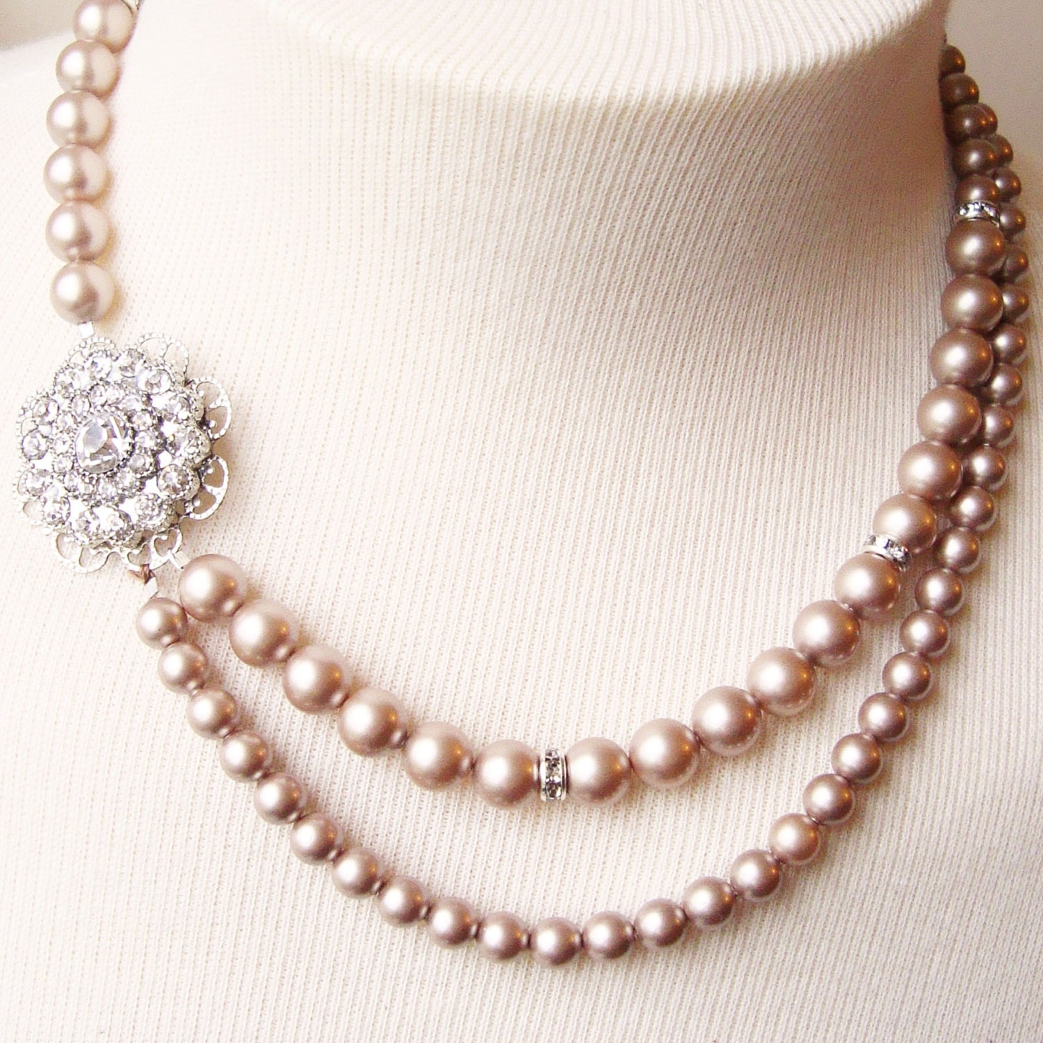Pearl Necklace Styles: Champagne Bridal Necklace Champagne Pearl Wedding Jewelry