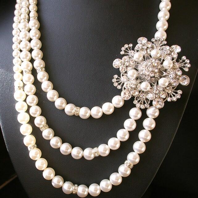 Statement Wedding Necklace, Pearl Bridal Jewelry, Vintage Bridal Necklace, Art Deco Wedding Necklace, Great Gatsby Wedding Jewelry, BOUQUET