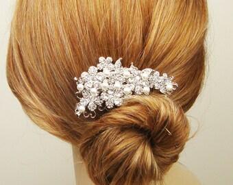Vintage Style Wedding Hair Comb, Pearl & Crystal Bridal Hair Accessories, Rhinestone Bridal Hair Comb, Wedding Hair Accessories, ARIANA