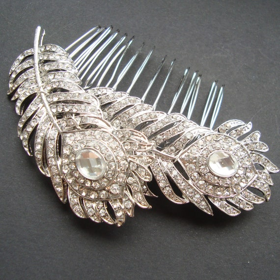 Vintage Style Wedding Bridal Hair Comb, Wedding Hair Accessories, Crystal Wedding Comb, Peacock Feathers Comb, Bridal Hair Accessory, PLUME