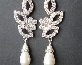 Vintage Inspired Bridal Wedding Earrings, Swarovski Crystal and Pearl Wedding Bridal Earrings, Bridal Jewelry, Old Hollywood Glamour, KARA