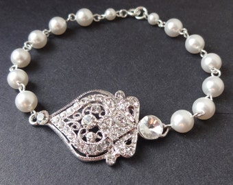 Pearl Wedding Bracelet, Swarovski Crystal Wedding Jewelry, Victorian Style Bridal Jewelry, Vintage Style Rhinestone Bracelet, Jacqueline