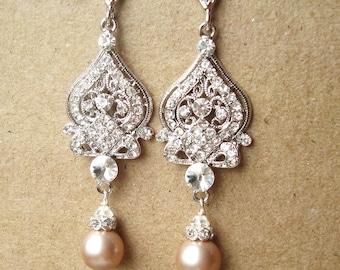 Champagne Wedding Earrings, Pearl Wedding Jewelry, Silver Chandelier Bridal Earrings,Vintage Inspired Bridal Jewelry, JACQUELINE