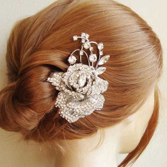 Items Similar To Crystal Rose Bridal Hair Comb Bridal