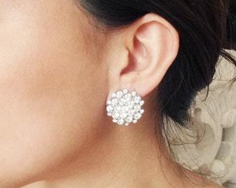 Crystal Stud Bridal Wedding Earrings, Vintage Style Bridal Earrings, Art Deco Bridal Jewelry, Wedding Jewelry, ELIZABETH