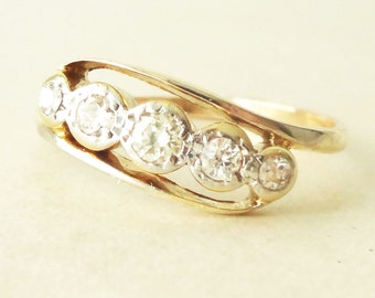 ON SALE 15% -Off Art Deco Diamond Eternity Ring, 9k Gold  Diamond Engagement Ring Size Approx. US 7.25