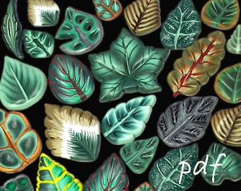 Polymer clay canes tutorial, millefiori tutorial, polymer clay leaves, with additional free tutorial for polymer clay beginners, pdf