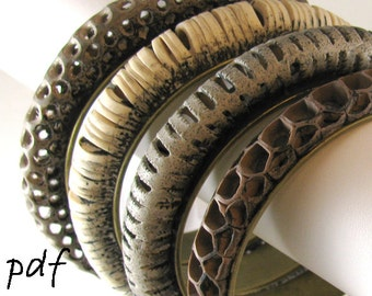 Openwork bracelets tutorial, polymer clay, pdf file, instant download
